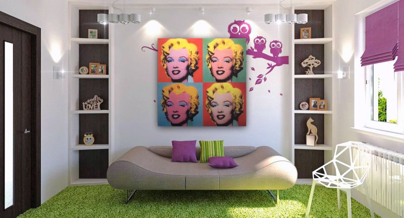 Modern Interior With Pop Art Apartment Ideas Living Room