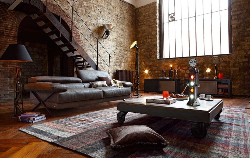 Interior design in the style of a loft
