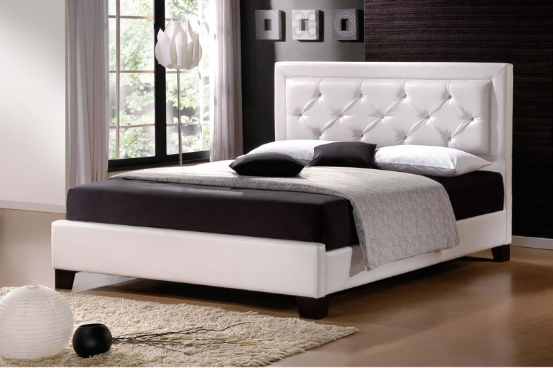 modern-bedroom-decoration-with-black-and-white-wall-color-interior-design-and-modern-bed-frame-designs-plus-tiffany-lamp-beside-and-wooden-flooring-tiles-with-rugs-ideas